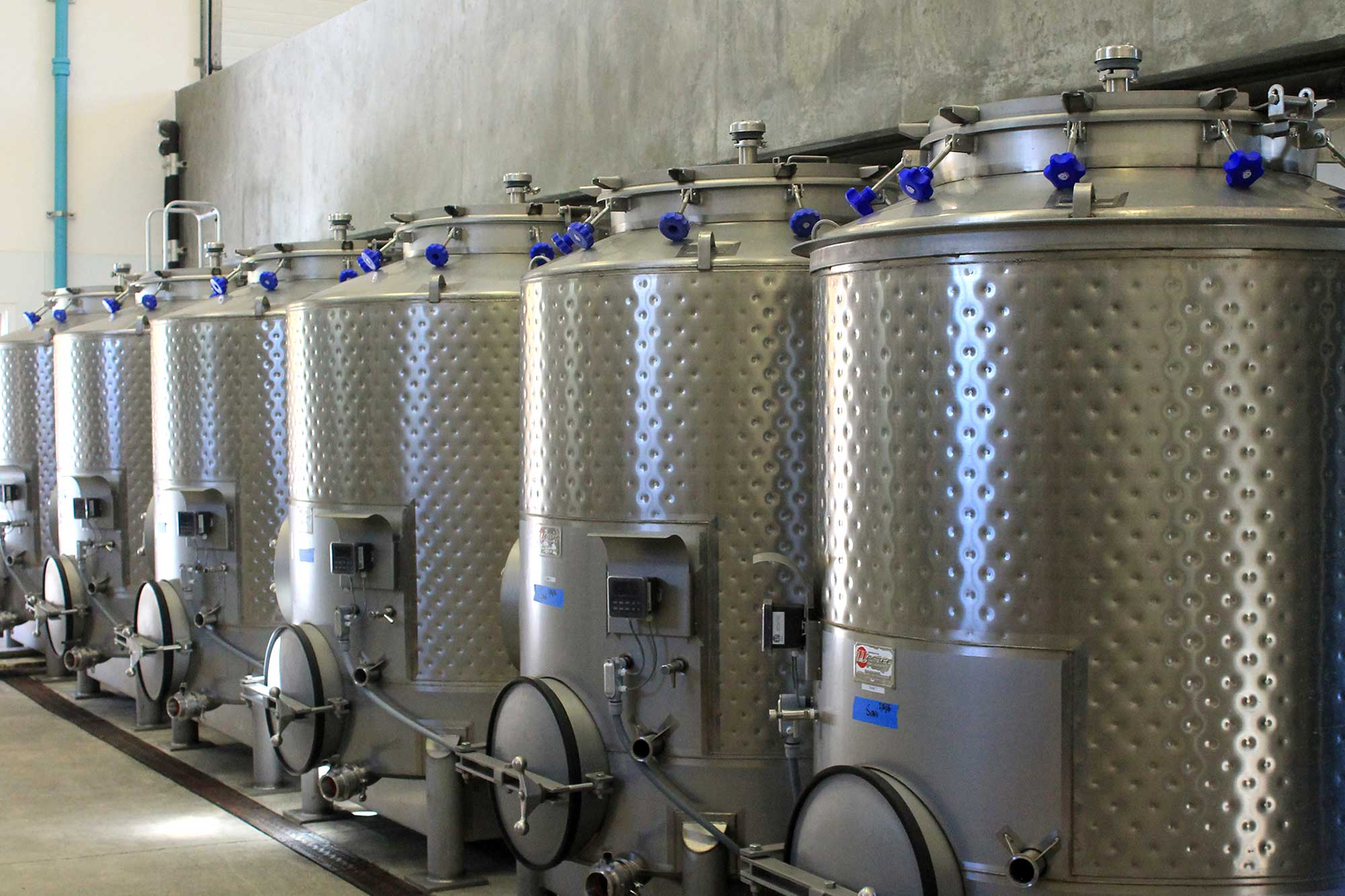 Our stainless wine tanks at Keever Vineyards in Yountville, California